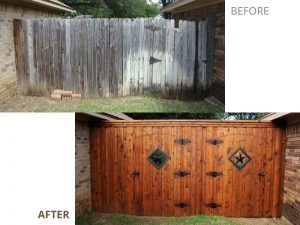 eco fencing company - wood fence gates - before & after