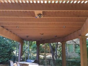 ecofencing company - wood pergola with electrical connections
